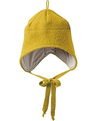 Disana Cappellino in Lana Cotta con Stringhe, Giallo curry - 100% lana merino Cappelli