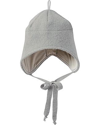 Disana Cappellino in Lana Cotta con Stringhe, Grigio - 100% lana merino Cappelli