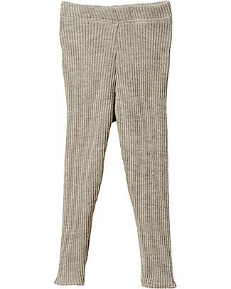Disana Leggings in Maglia a Costine, Grigio Chiaro – Pura Lana Leggings