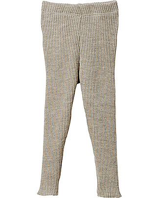 Disana Leggings in Maglia a Costine, Grigio Chiaro - Pura Lana Leggings