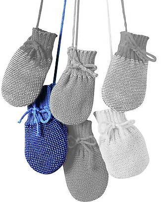 Disana Muffole in Pura Lana Merino, Blu Melange - 0-3 mesi Guanti e Muffole