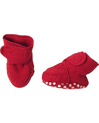 Disana Pantofoline in Lana Cotta, Rosso Pantofole