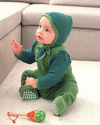 Disana Salopette in Maglia di Lana, Verde Pantaloni Lunghi