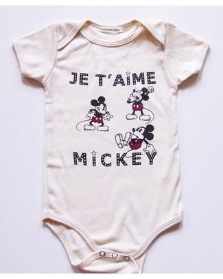 Disney e Atsuyo et Akiko Body Topolino 'Je T'Aime Mickey' Disney - Cotone Bio Body Manica Corta