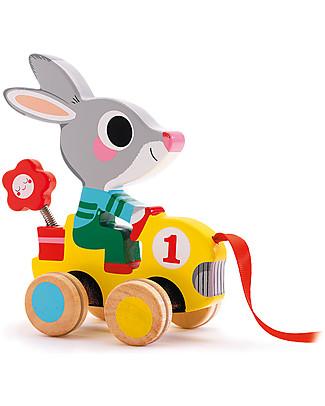 Djeco Gioco da Tirare, Coniglietto - Legno Giochi da Tirare e Spingere