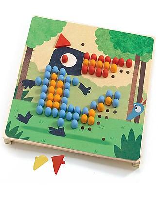 Djeco Gioco dei Chiodini, Mosaico Rigolo - 8 Figure Puzzle