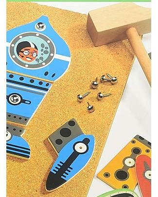 Djeco Gioco Educativo dello Spazio, Tap Tap Space - Legno e Sughero Far finta di