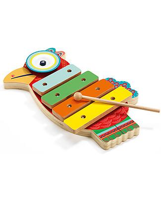 Djeco Pappagallo Musicale in Legno, Animambo - Cimbalo e Xilofono Strumenti Musicali