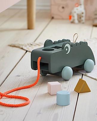 Done By Deer Giocattolo Puzzle da Tirare - Croco - Verde - Incoraggia Il Movimento Giochi da Tirare e Spingere