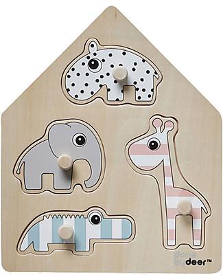 Done By Deer Puzzle a Incastro Peg - Amici di Deer - Legno Puzzle