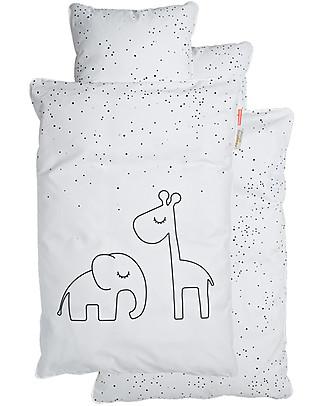Done By Deer Set Copripiumino e Federa Dreamy Dots, Bianco - 100x140 cm - 100% Cotone Copripiumino e Federe