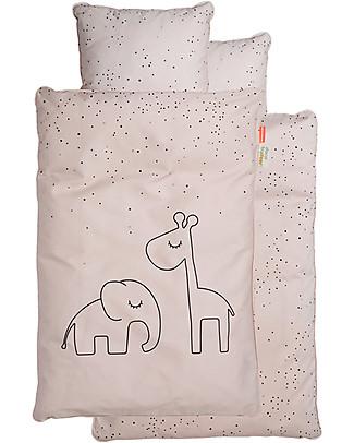 Done By Deer Set Copripiumino e Federa Dreamy Dots, Rosa Cipria - Baby 70x100 cm - 100% Cotone Copripiumino e Federe
