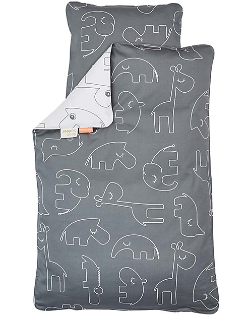 Done By Deer Set Copripiumino e Federa Sleepy, Grigio - Baby 70x100 cm - 100% Cotone Copripiumino e Federe