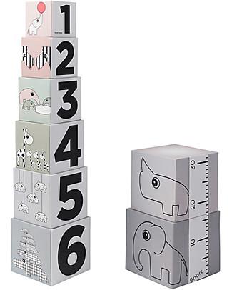Done By Deer Set Cubi da Impilare Multiuso 123 - Alto 1 Metro! Carta e Cartone
