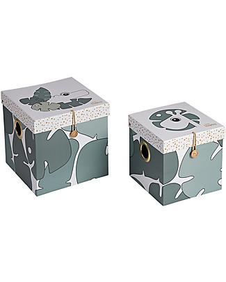 Done By Deer Set Di 2 Scatole Portaoggetti Tiny Tropics - Verde - Large Contenitori Porta Giochi