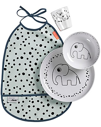 Done By Deer Set Pappa Baby Happy Dots, Celeste - 3 pezzi + bavaglino impermeabile! Set Pappa