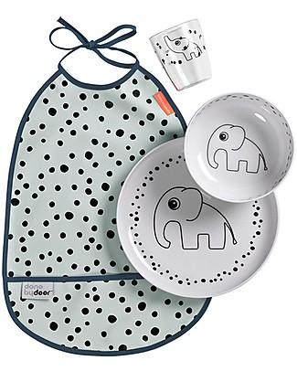 Done By Deer Set Pappa Baby - Happy Dots - Celeste - con Bavaglino Set Pappa