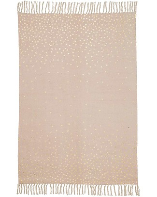 Done By Deer Tappeto a Pois con Frange, Rosa/Oro - 90x120 cm - 100% cotone Tappeti