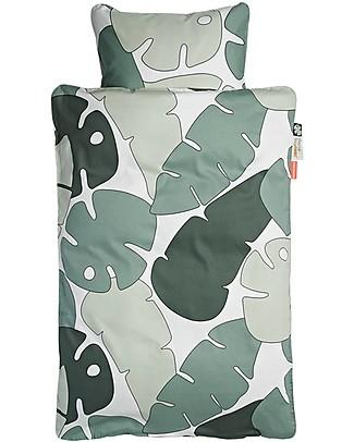 Done by Deer Tiny Tropics Set Copripiumino e Federa Tiny Tropics - Junior 100 x 140 cm con Federa Grande - 100% Cotone Lenzuola