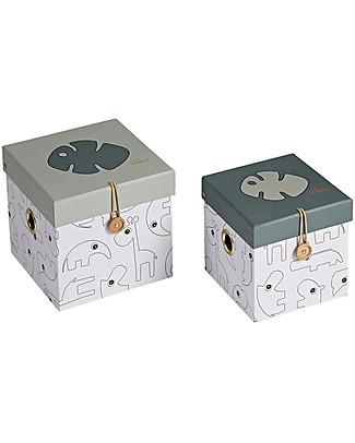Done by Deer Tiny Tropics Set Di 2 Scatole Portaoggetti Tiny Tropics - Verde - Small Contenitori Porta Giochi