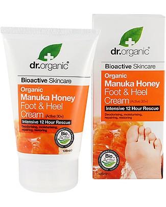 Dr.Organic Crema di Manuka Piedi e Talloni, 125 ml - per Ammorbidire Calli Creme e Olii