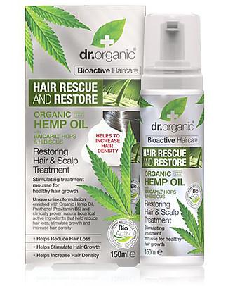 Dr.Organic Mousse Ristrutturante per Capelli e Cute alla Canapa, 150 ml - Stimola la Crescita dei Capelli! Bagno Doccia Shampoo
