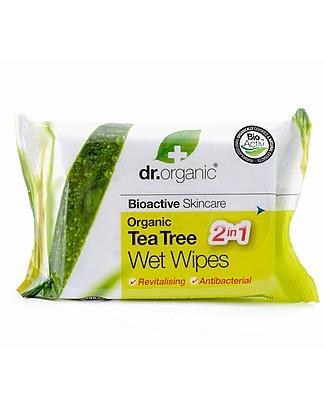 Dr.Organic Salviette Bio Detergenti al Tea Tree - 20 pezzi - Multiuso Salviette
