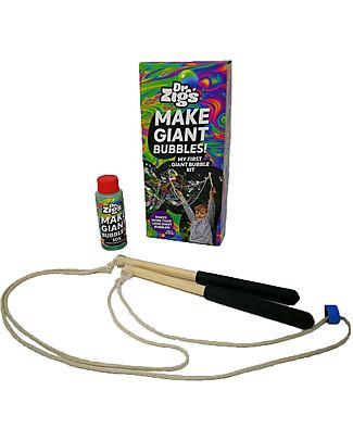 Dr Zigs Kit La mia Prima Bolla di Sapone, Bacchette con Corda Incluse - Oltre 1000 Bolle Giganti! Giochi all'Aperto