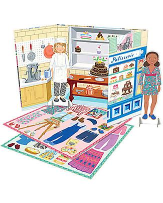 eeBoo Bambole di Carta, Pasticcera e Pittrice - Con adesivi riposizionabili! Carta e Cartone