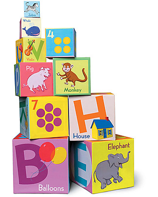 eeBoo Torre Alfabeto e Numeri - 10 cubi da impilare e abbattere! Carta e Cartone