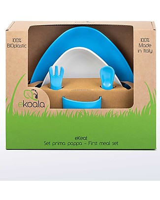 eKoala eKeat - Set Prima Pappa eKoBoy - Bioplastica Naturale, 100% Biodegradabile, Made in Italy Set Pappa