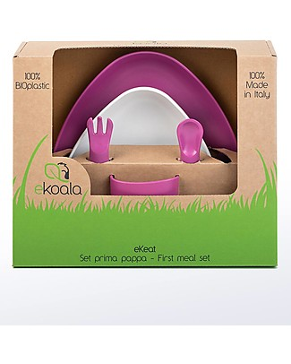 eKoala eKeat - Set Prima Pappa eKoGirl - Bioplastica Naturale, 100% Biodegradabile, Made in Italy Set Pappa