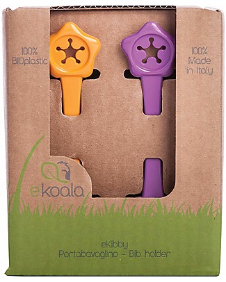 eKoala eKibby - Set di 2 Portabavaglini Arancione/Viola - Bioplastica Naturale, 100% Biodegradabile, Made in Italy  Bavagli Classici