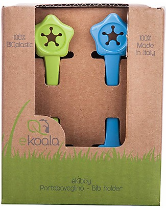 eKoala eKibby - Set di 2 Portabavaglini Verde/Azzurro - Bioplastica Naturale, 100% Biodegradabile, Made in Italy  Bavagli Classici