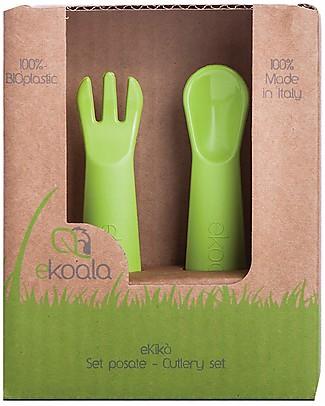 eKoala eKikò - Set Forchetta e Cucchiaino, Verde - Bioplastica Naturale, 100% Biodegradabile, Made in Italy Posate e Bacchette