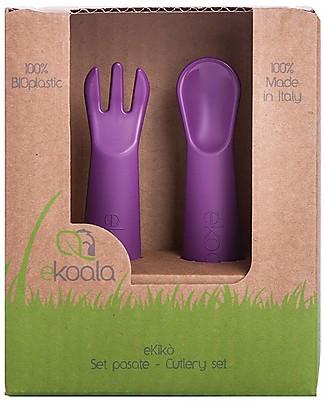 eKoala eKikò - Set Forchetta e Cucchiaino, Viola - Bioplastica Naturale, 100% Biodegradabile, Made in Italy Posate e Bacchette