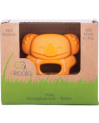 eKoala eKolly - Massaggiagengive Arancione - Bioplastica Naturale, 100% Biodegradabile, Made in Italy Ciucci
