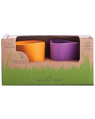 eKoala eKuà - Set 2 Bicchieri - Arancione/Viola - Bioplastica Naturale, 100% Biodegradabile, Made in Italy Tazze e Bicchieri