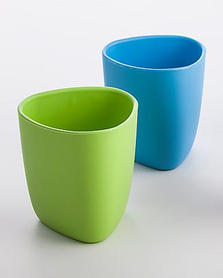 eKoala eKuà - Set 2 Bicchieri - Verde/Azzurro - Bioplastica Naturale, 100% Biodegradabile, Made in Italy Tazze e Bicchieri