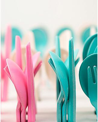 Ekobo Set di Posate Bambino: Forchetta, Cucchiaio e Coltello, Rose - Eco-Friendly Posate e Bacchette