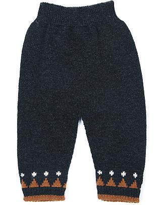 Emile et Ida Pantalone Baby Orage, Blu - Misto lana e cachemire Pantaloni Lunghi
