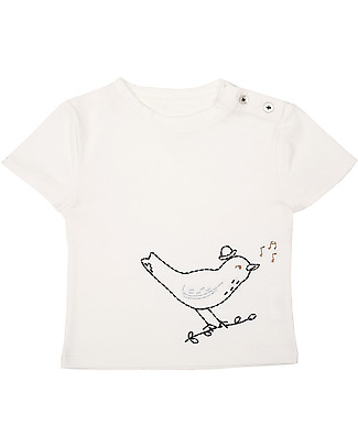 Emile et Ida T-Shirt Baby con Ricamo, Uccellino/Azzurro – 100% cotone T-Shirt e Canotte