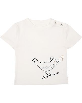 Emile et Ida T-Shirt Baby con Ricamo, Uccellino+Azzurro - 100% cotone T-Shirt e Canotte