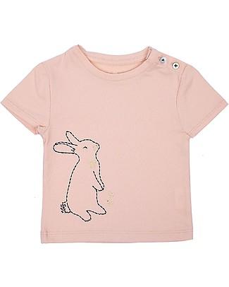 Emile et Ida T-Shirt Baby Ricamata, Coniglietto+Rosa Pallido - 100% cotone null