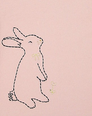 Emile et Ida T-Shirt Baby Ricamata, Coniglietto+Rosa Pallido - 100% cotone T-Shirt e Canotte