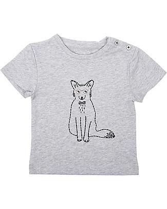 Emile et Ida T-Shirt Baby Ricamata, Volpe+Grigio - 100% cotone null
