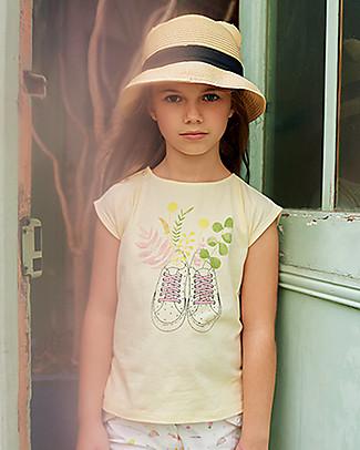 Emile et Ida T-Shirt Bimba, Giallo Pallido/Stampa Scarpine - 100% cotone null