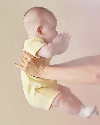 Emile et Ida Tutina Baby Maniche Corte, Giallo+Ranocchia - Ciniglia Body Manica Corta