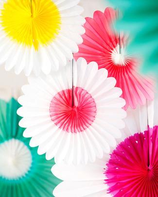 Engel Fiore di Carta Bianco/Fucsia - 45cm Festoni