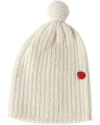 Esencia Cappellino PomPom con Coccinella, Avorio (1-2 e 3-4 anni) – 100% lana di alpaca Cappelli